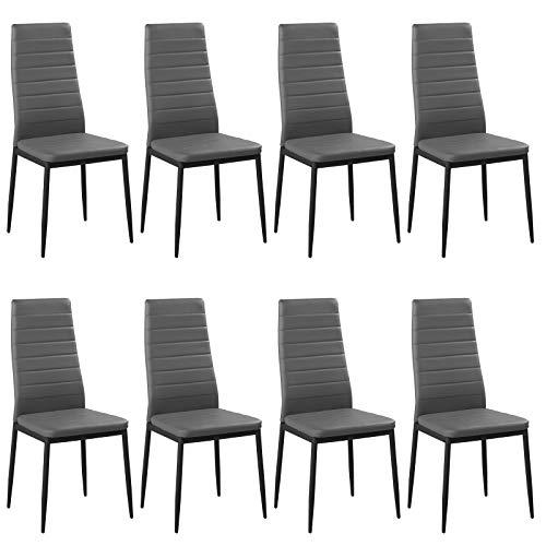 Woltu bh85gr-8 set di sedie per sala da pranzo sgabello con schienale ecopelle metallo sedia imbottita per cucina ristorante moderno grigi 8 pezzi