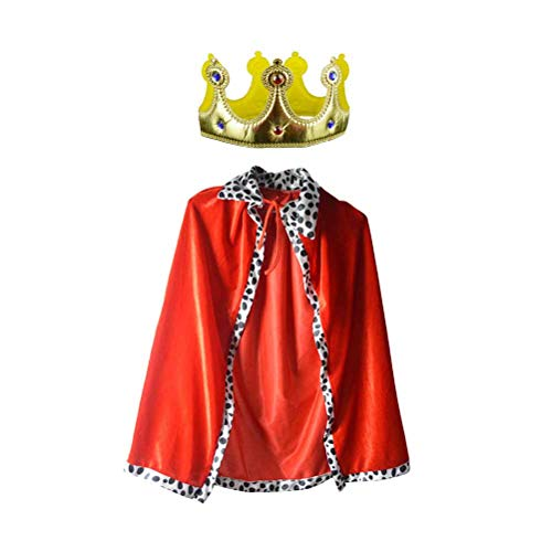 Rote Königin Kind Kostüm - NUOBESTY 2 stücke könig Robe Crown Set Prince Queen royal Mantel Cape Halloween Cosplay Leistung kostüm für Kinder Kinder (rot golden)