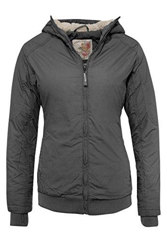 URBAN SURFACE - Sportliche Damen Winter-Jacke mit Kapuze & Teddyfell in Grün & Schwarz dark-grey L