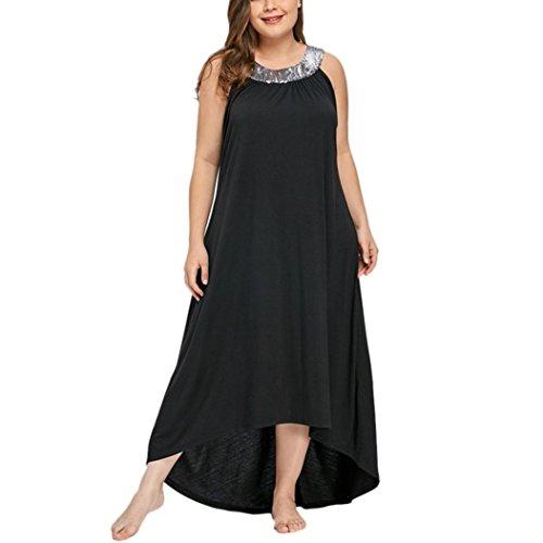 VJGOAL Damen Kleid, Frauen Plus Size Mode V-Ausschnitt Floral Maxi Abend Cocktail Party Hochzeit Boho Strand Frühling Sommerkleid (2XL / 46, W-Pailletten-schwarz)