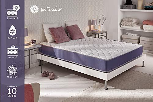 NATURALEX Matelas Geltec - Mousse à mémoire Gel Fresh - Système UHR Blue Latex - 7 Zones de Confort - 90 x 190 cm