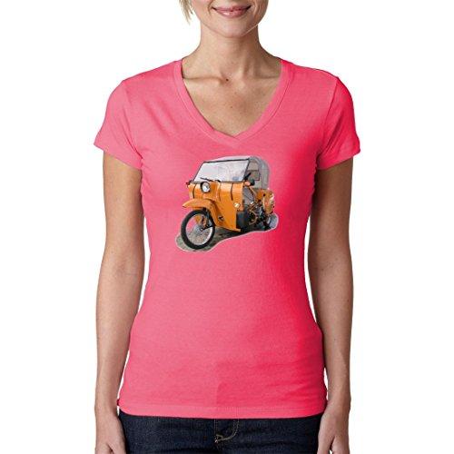 DDR Ossi Girlie V-Neck Shirt - Motorrad Simson Duo by Im-Shirt Light