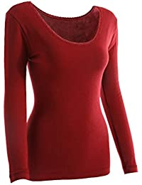 YiLianDa Femme T Shirt Manches Longues Haut Thermique Col U Sous Vêtements Sculptants