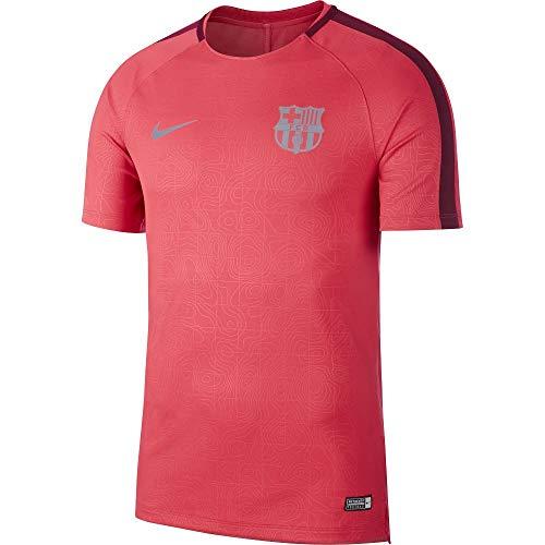 Nike Herren FC Barcelona Dry Squad T-Shirt, Tropical Pink/Deep Maroon/Reflective Silver, 2XL (Barcelona Nike Rosa)