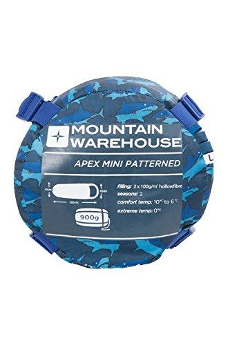 mountain-warehouse-apex-mini-gemusterter-schlafsack-camping-outdoor-zelten-fur-kinder-blau