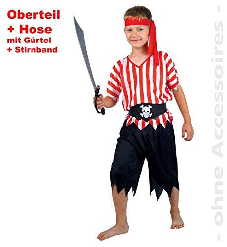 narrenwelt Pirat Pirate Set 4tlg Oberteil + Hose + Gürtel + Stirnband PB 1574 Fasching Kinder-Kostüm Gr 116