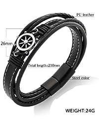 8d5035f0fc4e LILIHAN Negro Acero Inoxidable timón magnético Hombres Brazalete de joyería  de Cuero de la PU de