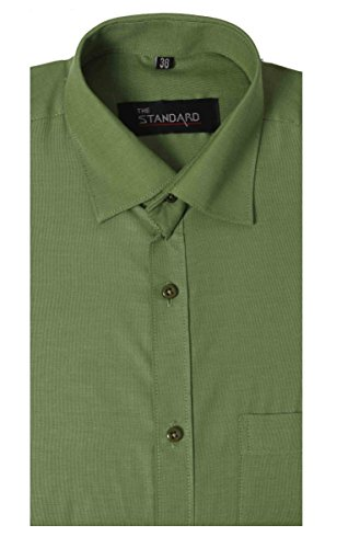 The Standard Men's Formal Wear Plane Shirt, 42, (SKU0043, Green)