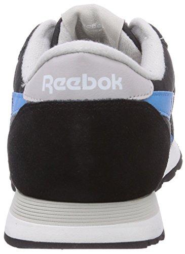 Reebok - Classic Nylon, Senakers a collo basso, unisex Nero (Black/Steel/California Blue/White)