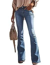 89bb0a495073 Yueyue Donna Jeans a Zampa Pantaloni a Vita Alta Elasticizzati Donna Jeans  a Zampa di Elefante