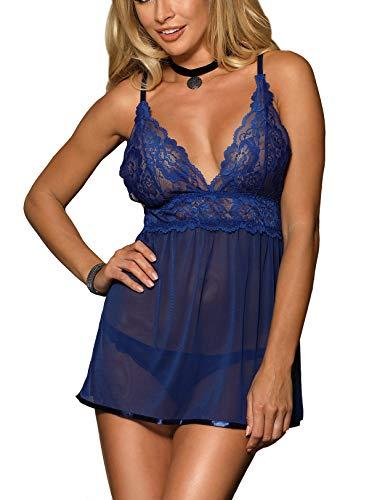 marysgift Negligee Damen Nachtwäsche Nachtkleid Nachthemd Spitze Lingerie Dessous Reizwäsche Set Sleepwear Kleid große größen M 36 38 -