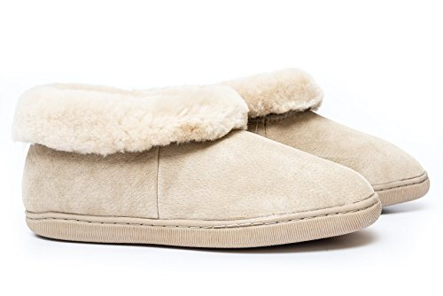Pantofole Crete 100% Pelle Di Agnello Merino Australia Beige