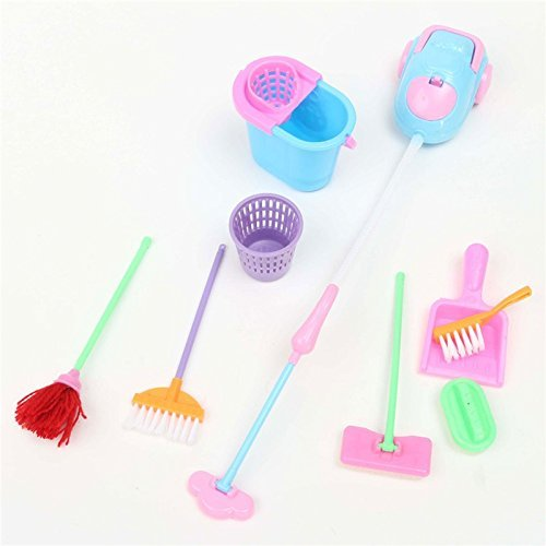Tony ToyS, KidS & BabY AccessorieS 888 Girl House Dolls Furniture Cleaning Kit Set Home Furnishing Funny Vacuum Cleaner Mop Broom Tools 9Pcs/set