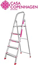 Casa Copenhagen Eternal Classic Sure Step Handy - Ultra-Stable 5-Step Foldable Aluminium Ladder 160 cm (5.25 ft.) for Home Use with 5-Year Warranty , Top Platform Size 10 inch X 10 inch & Step Size 14,15,16,17 Inches Respectively
