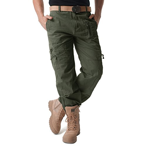 Magcomsen Mens Cargo Work Trousers Cotton Pants Outdoor Camping
