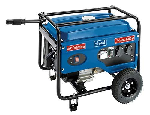 Scheppach 5906213901 Generator/Stromerzeuger SG3100, zuverlässige Stromversorgung egal ob Baustelle oder Camping, robuster Stahlrahmen schützt und dient dem Transport, 6,5 PS Motor, 2700 W, 230 V -