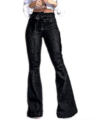 Keepmore Damenjeans mit hoher Taille, Jeans mit weitem Bein und ausgestelltem Bein, Slim-Fit-Jeanshose