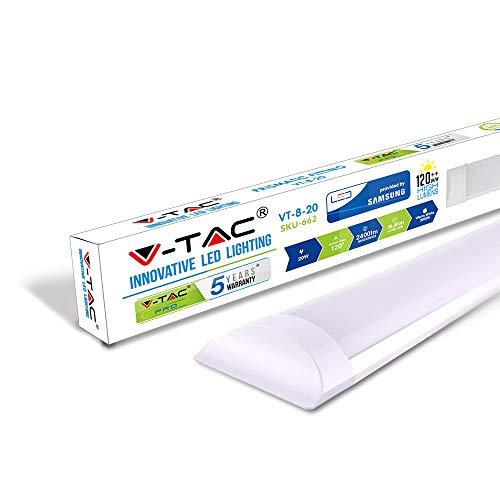 V-TAC 20W 2ft LED Halterung mit integrierter Rohre 3000K Warmweiß 600x74x24mm wannenleuchte und Deckenleuchte, feuchtraumleuchte 30000 Std Lange Lebensdauer fur garage (2ft Vorschaltgerät)