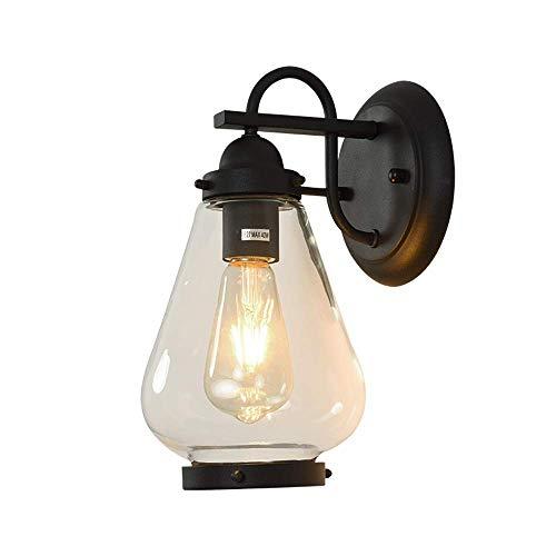 2-licht Abgeschrägten Glas (XGGYO Wasserdichte Wandlaternen, Regen-Tür-Wand-Leuchter E27 des Glasbalkon-im Freien malen Schmiedeeisen-Rostschutzwand-Lampe)