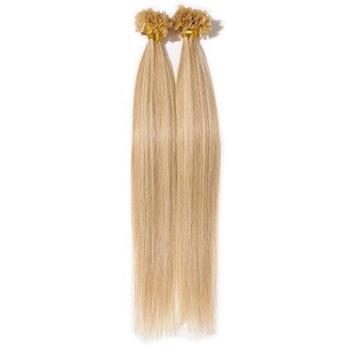 Extension cheratina capelli veri meches 100 ciocche - 40cm #18/#613 beige sabbia biondo/biondo chiarissimo - 100% remy human hair pre bonded u tip nail hair 0.5g/fascia