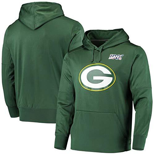Z-ZFY NFL Männer Kapuzenpullover - Green Bay Packers American Football Logo Trainings Sweathirt Kapuze Sport Warm Sports Pullover,S160~165cm
