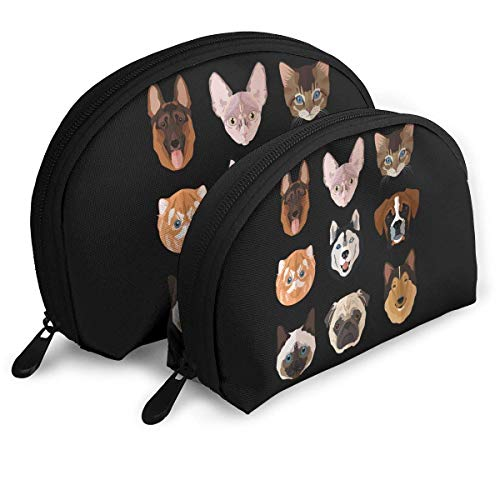 Portable Shell Makeup Storage Bags Cute Cats Dogs Face Collection Travel Waterproof Toiletry Organizer Clutch Pouch for Women -