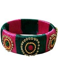 Chaitanya Silk Thread Jewellery Multi Colour Silk Thread Bangle Set For Women - B078C5DGYQ