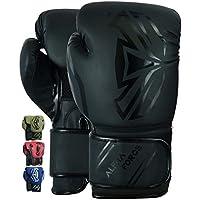 ALPHA FORCE 3.0 Guantes de Boxeo Muay Thai Entrenamiento Sparring Saco de Boxeo Mitones Kickboxing Lucha (Negro Mate, 14 oz)