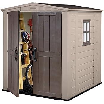 keter factor outdoor plastic garden storage shed 6 x 6 feet beige
