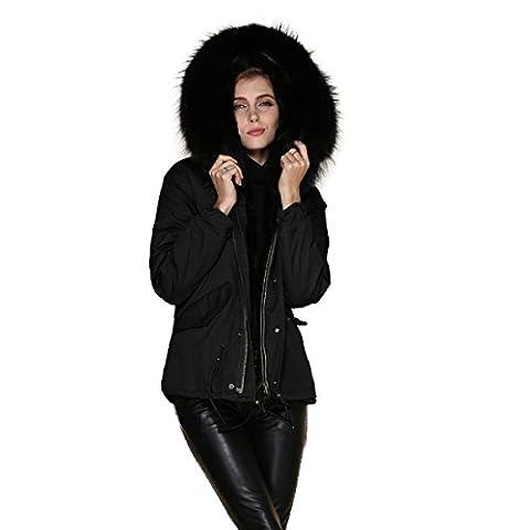 PARKA XXL Kragen aus 100% ECHTPELZ ECHTFELL Jacke Mantel KURZ Schwarz 6 Farben (L 38, Schwarz)