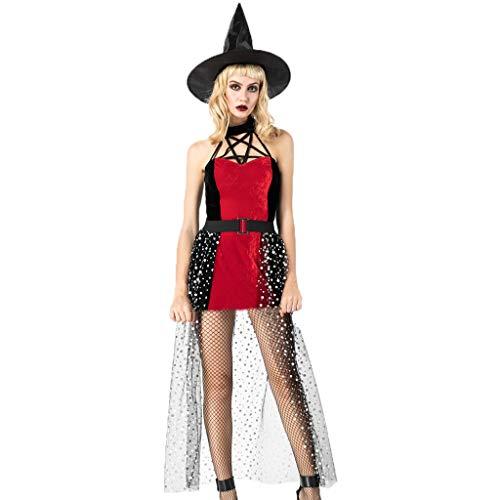 Trisee Damen Halloween Cosplay Kostüm 3PC Set Festliche Kleider Vintage Magic Mistress Hexenkostüm Sexy Karneval Fasching Kostüm Kleid, Hut und Garn