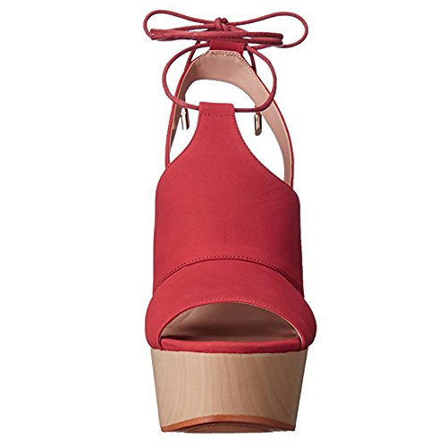 Damen Peep Toe Sandalen High-Heels Keilabsatz Knöchelriemchen mit Plateau Rot