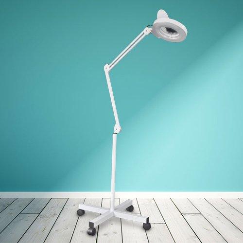 Free Standing Magnifying Lamp Hug Flight® Floor stand 5 x magnification Salon Tattoo Nail Skin Lens Light Beauty Salon Spa 360 Degree Band