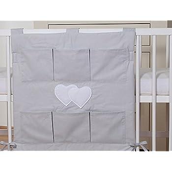 Organiseur de lit bébé - gris à coeurs