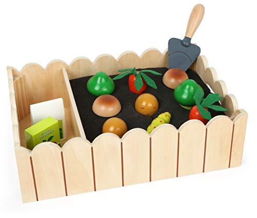 small foot 12011 Gemüsegarten inkl. Spielset aus Holz, Beet für Kinder ab 3 Jahren, Spiel-Set mit Gemüse, Dünger und Schaufel Spielzeug, Mehrfarbig