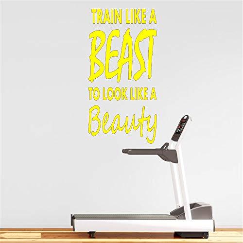 Wandtattoo Zitat Zug wie ein, um wie eine Schönheit Fitness Motivation Aufkleber Home House Gym Dekoration Vinyl 42 * 70cm aussehen