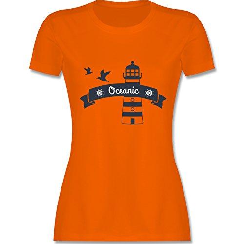 Schiffe - Oceanic Segeln Leuchtturm - tailliertes Premium T-Shirt mit Rundhalsausschnitt für Damen Orange