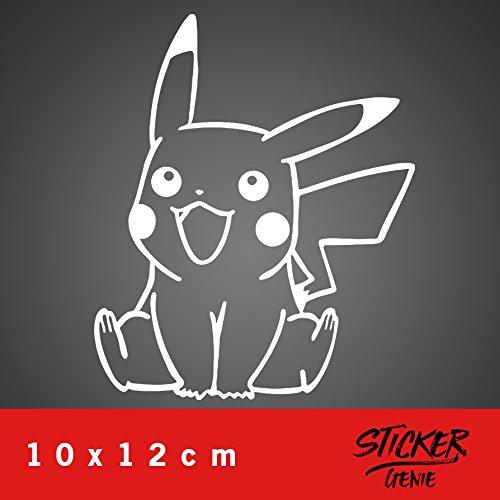 Pikachu Aufkleber Auto Sticker Autosticker Autoaufkleber Decal Pokemon (10 x 12 cm, Weiss)