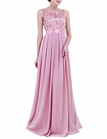 FEESHOW Women Embroidered Chiffon Bridesmaid Dress Long Party Evening Prom Gown Plum 12(Waist:31.5