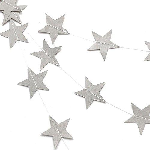 Tenrany Home Funkelnd Sterngirlande Ammer, 2 Packung Papier Sterne Girlande Banner Hängend für Weihnachten Dekorationen (Silber)