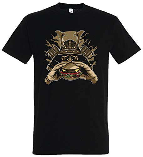Black Samurai Übergröße Kostüm - T-Shirt Herren/Damen Schwarz mit Burger Aufdruck (XL, Schwarz)