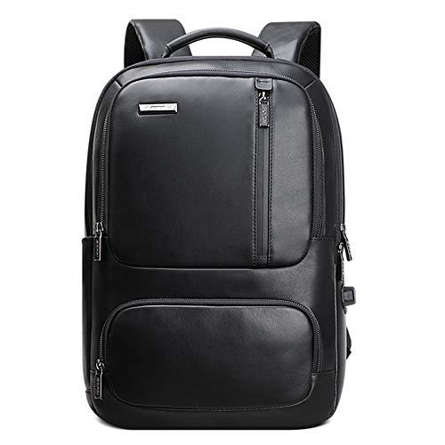 HWX Neuer Outdoor-Reise-Rucksack, Soft Leather mit unsichtbarer USB-Gebühr 15,6-Inch Laptop-College Business Flight für Männer und Jungen -