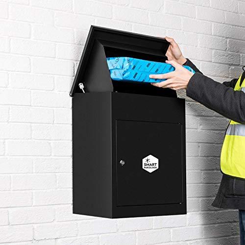 Homescapes Paketbriefkasten aus verzinktem Stahl mit Barcodescannung & Rückholsperre, Smart Parcel Box Medium, Schwarz, 44 x 35 x 58cm - Schwarze Wand-box