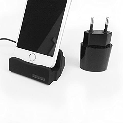 HubLines® original - Design Premium carga y estación de acoplamiento con Adaptador de corriente de carga rápida 2.1A - Micro USB Negro - Base de escritorio / kit de cargador / cargador para teléfonos móviles - Soporte / Soporte / Cuna / Stand / paquete / Muelle / Base Mini / soporte de