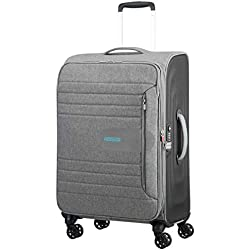 American Tourister Sonicsurfer - Spinner 68/25 Expandable Equipaje de Mano, 68 cm, 83.5 Liters, Gris (Metal Grey)
