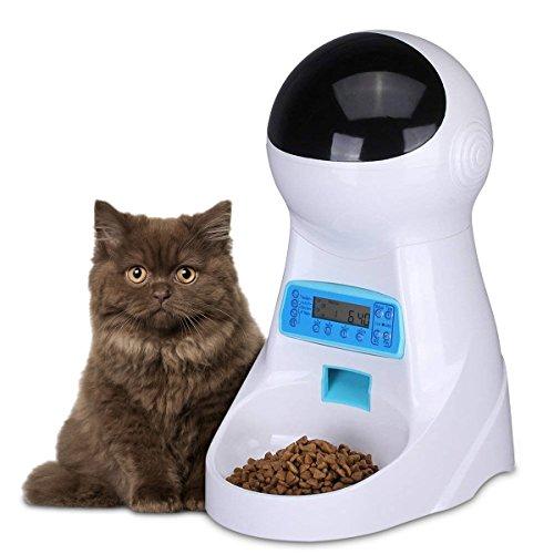PETCUTE Alimentador automático de Mascotas, dispensador de Alimentos para Mascotas con recordatorio de Voz y programación de Tiempo, Control de porciones, 4 Comidas para Perros y Gatos
