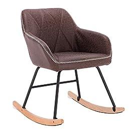 WOLTU Chaise à Bascule Fauteuil Relax Fauteuil à Bascule en Lin et Bois d'acier,Gris Foncé SKS11dgr-1