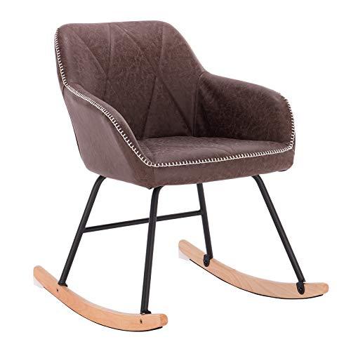 l SKS12br-1 Relaxstuhl Sessel Schaukelsessel Schwingsessel Kunstleder Stahl Massivholz Antiklederoptik Braun ()