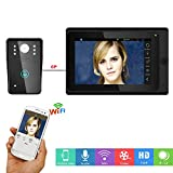 Xianxian88 WiFi Wireless Intelligent Video citofono Campanello, da 7 Pollici cablata videocamera HD Display Video, Adatto per Villa, casa, Ufficio Campanello