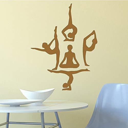 yiyiyaya Yoga Mädchen Wandaufkleber Moderne Mode Wandaufkleber Dekoration Zubehör für Wohnzimmer Bett Zimmer Aufkleber Wandbilder Kaffee 58 cm X 76 cm (Baby Anker Bett Set)